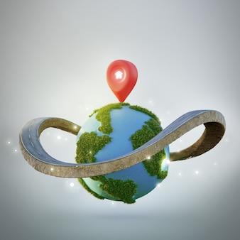 Simbolo della casa con l'icona del perno di posizione sulla terra e sull'anello stradale nel concetto di investimento immobiliare