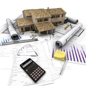 Una casa in cima a un tavolo con modulo di richiesta di mutuo, calcolatrice, progetti, ecc.