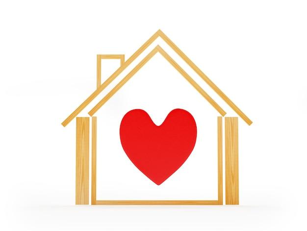 Casa con l'icona del cuore