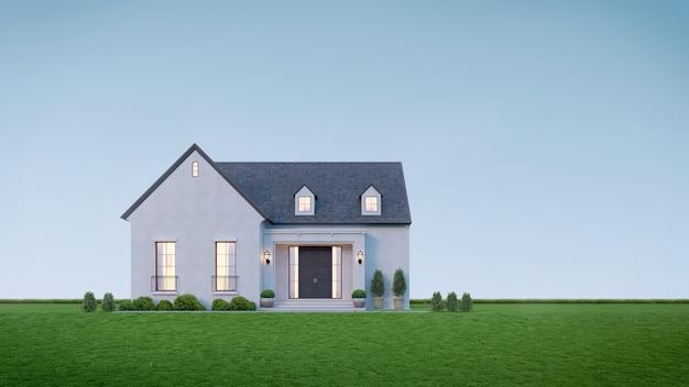 Casa con prato contro il cielo blu nel rendering 3d