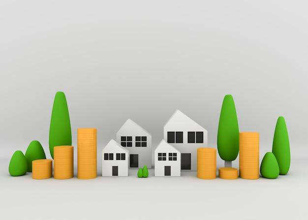 Casa con piante e pile di monete