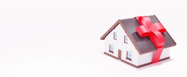 Casa con fiocco rosso su di esso, rendering 3d