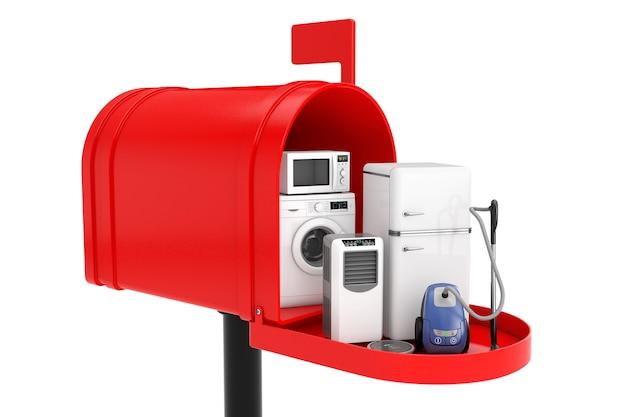Elettrodomestici impostati nella cassetta postale rossa su sfondo bianco. rendering 3d