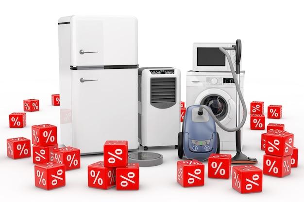 Set di elettrodomestici con cubetti di percentuale di sconto rosso su sfondo bianco. rendering 3d