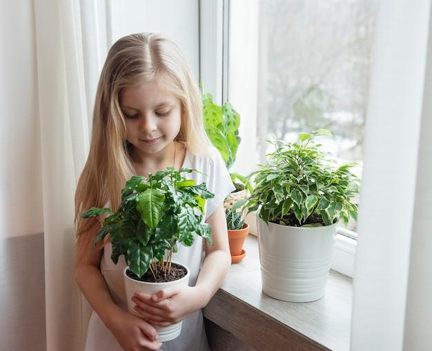 Cura delle piante d'appartamento, bambina che si prende cura delle piante d'appartamento