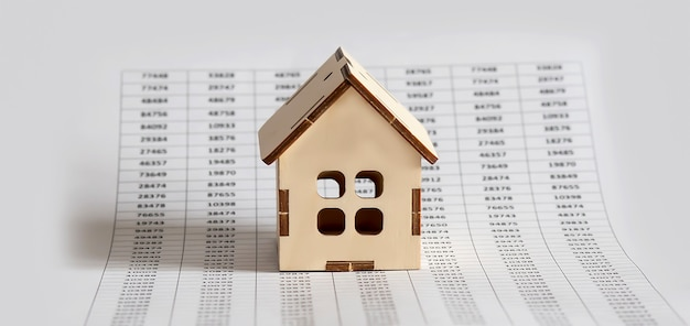 Mercato immobiliare con grafico sulla superficie del grafico