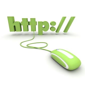 Http: // collegato al mouse di un computer in tonalità verdi