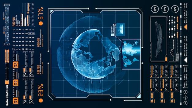Hud scansione olografica futuristica e posizione di ricerca smart city