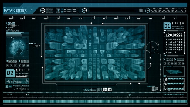 Hud scansione olografica futuristica tecnologia smart city