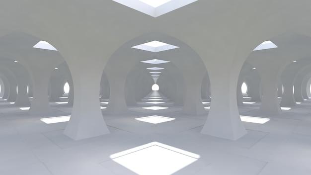 Un enorme corridoio bianco 3d con colonne di forma rombica che vanno in lontananza. renderng 3d.