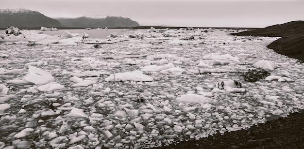 Enorme ghiacciaio, vista della lingua e dei suoi grandi blocchi di ghiaccio.