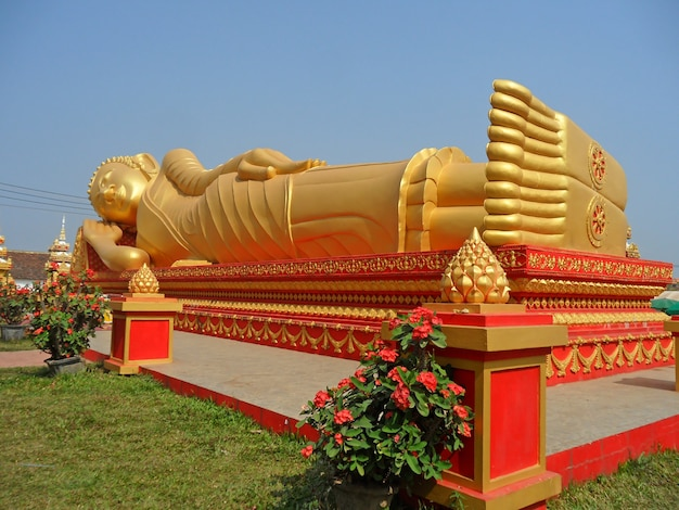 Immagine enorme del buddha adagiantesi dorato a wat that luang
