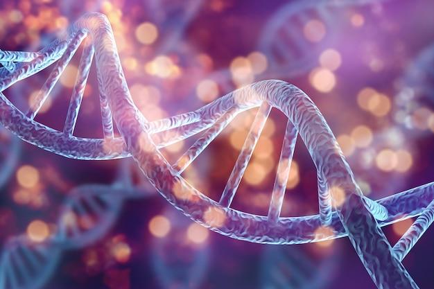 Illustrazione della struttura molecolare dei filamenti di dna di biologia cellulare umana