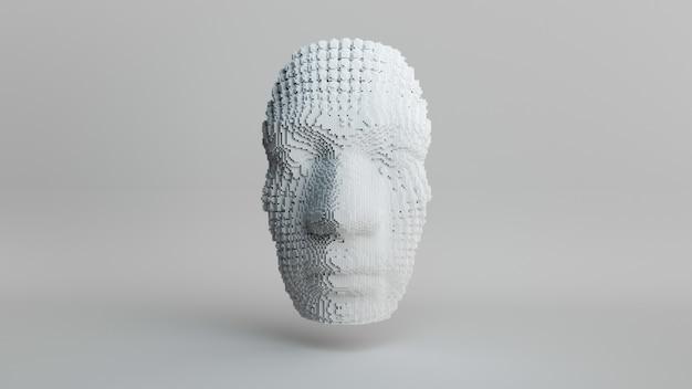 Emersione del volto umano, testa di costruzione da cubi, concetto di intelligenza artificiale, astratto