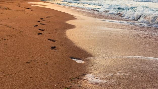 Impronte umane nella sabbia in riva al mare