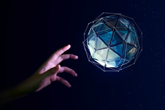 Mano umana che sta per toccare il globo terrestre, concetto di giornata della terra