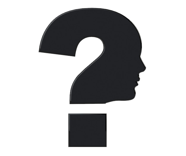 Testa umana come simbolo del punto interrogativo su sfondo bianco