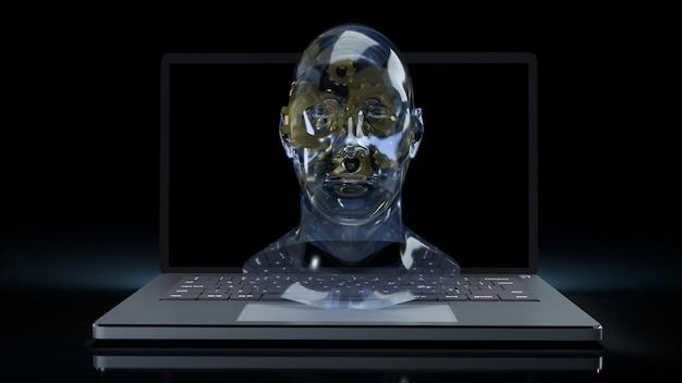 Il cristallo della testa umana e l'ingranaggio d'oro all'interno del laptop per l'apprendimento automatico o il rendering 3d dei contenuti ai