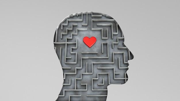 Testa umana e dentro un labirinto con un cuore rosso. concetto di ricerca d'amore. rendering 3d.