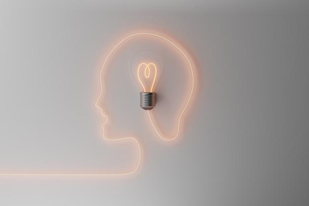 Testa umana con lampadina. concetto creativo, idea e immaginazione, illustrazione 3d