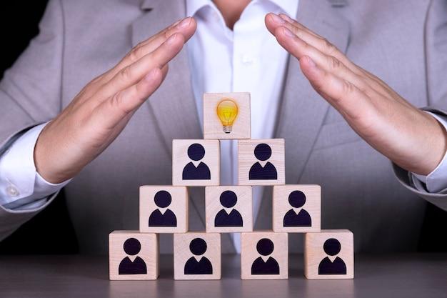 Risorse umane e concetto di gerarchia aziendale, il team di reclutamento è composto da un leader, ceo rappresentato da una lampadina e da icone dorate.