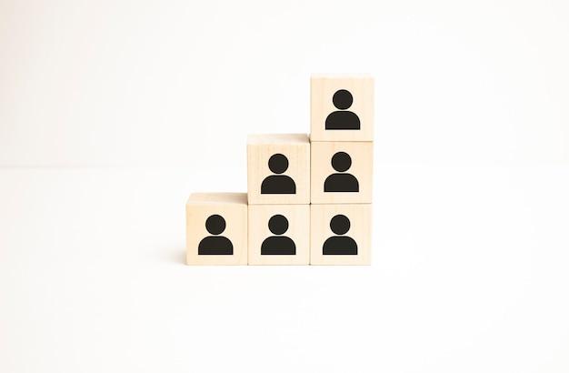 La gestione delle risorse umane e l'attività di reclutamento creano il concetto di squadra. blocco cubo di legno sulla parte superiore con icona