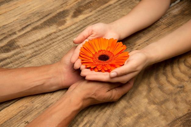 Le mani dell'uomo che tengono la decorazione isolata su fondo di legno. concetto di festa, vacanze, famiglia, comfort domestico. regalo per momenti felici.