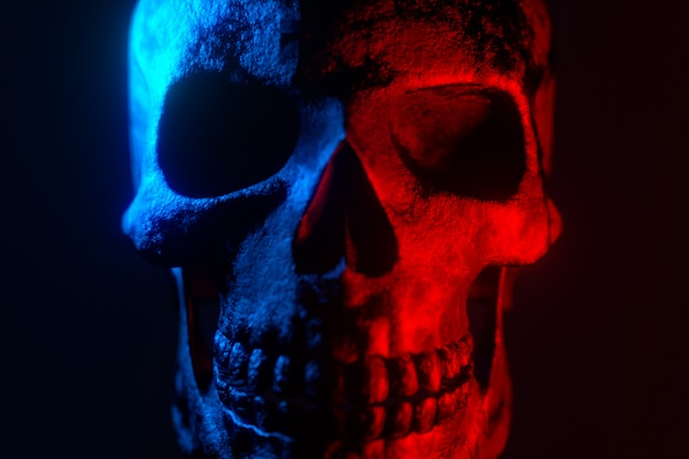 Cranio umano. neon turchese e luce rossa. spettrale e sinistro.