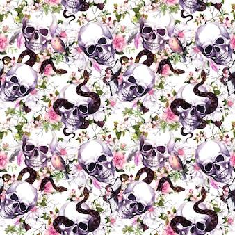 Teschi umani con fiori, uccelli, serpenti. seamless pattern su sfondo nero. acquerello