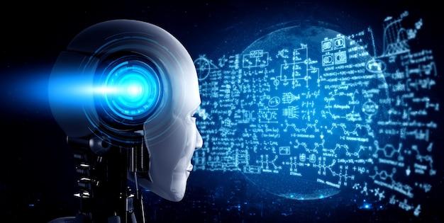Robot ai umanoide che guarda lo schermo dell'ologramma nel concetto di calcolo matematico