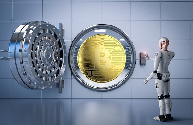 Robot umanoide che lavora con bitcoin e caveau di una banca