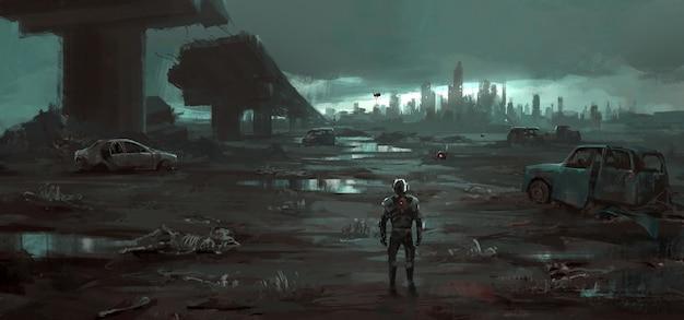 Gli esseri umani tornano all'illustrazione della terra distrutta.