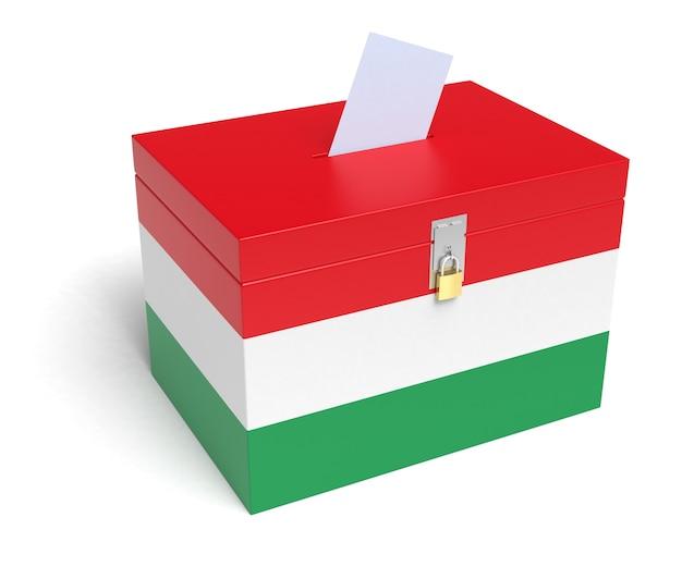 Urna elettorale ungherese con bandiera ungherese. isolato su sfondo bianco.