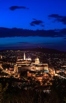 Ungheria, budapest di notte vista dal monte gellert alla fortezza di buda, città notturna