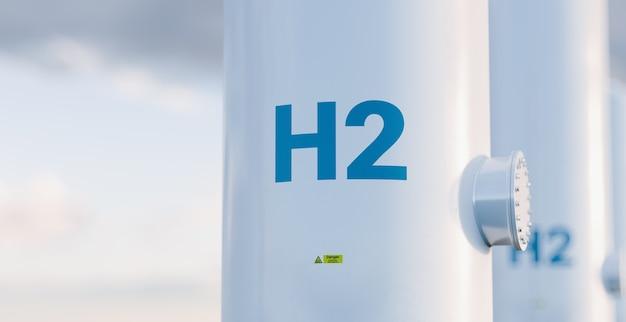 Concetto di serbatoio di stoccaggio dell'idrogeno in una bella luce mattutina. rendering 3d.