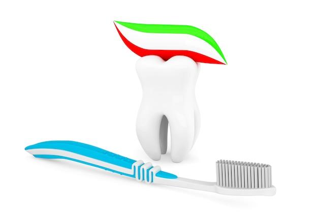 Concetto di igiene. dente e pasta dello spazzolino da denti su un fondo bianco
