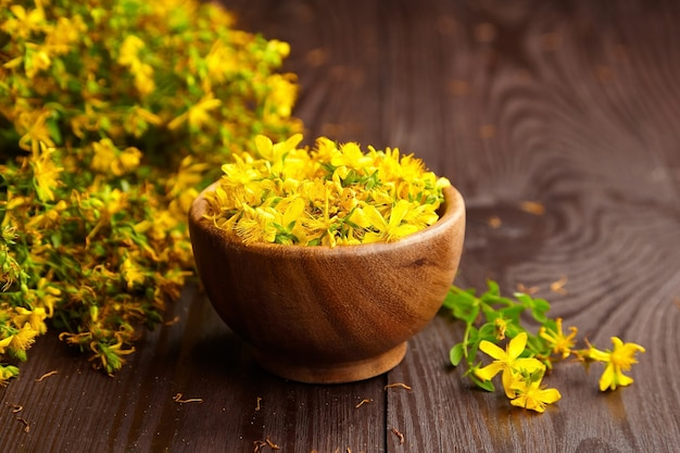 Hypericum perforatum o erba di san giovanni boccioli di fiori in una ciotola di legno