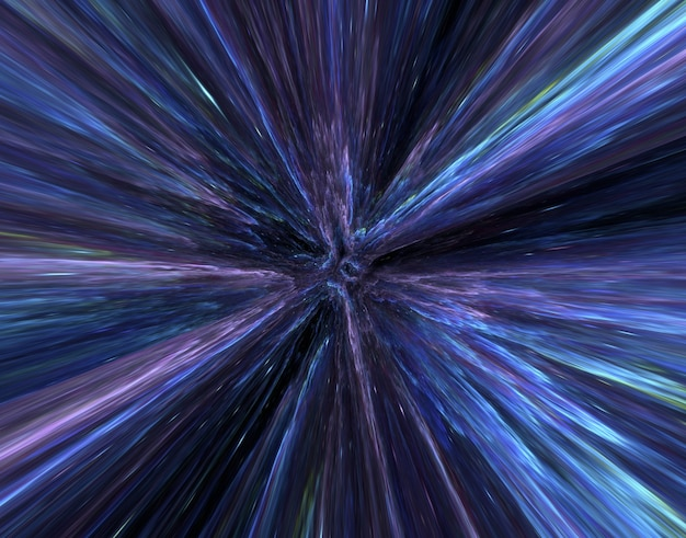 Hyperspace motion blur attraverso l'universo, muovendosi alla velocità della galassia del tunnel di luce, iper salto di colore astratto sfondo