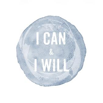 Posso e voglio: quotazione sulla pittura ad acquerello grigio isolato su sfondo bianco, motivazione, ispirazione, stile di vita