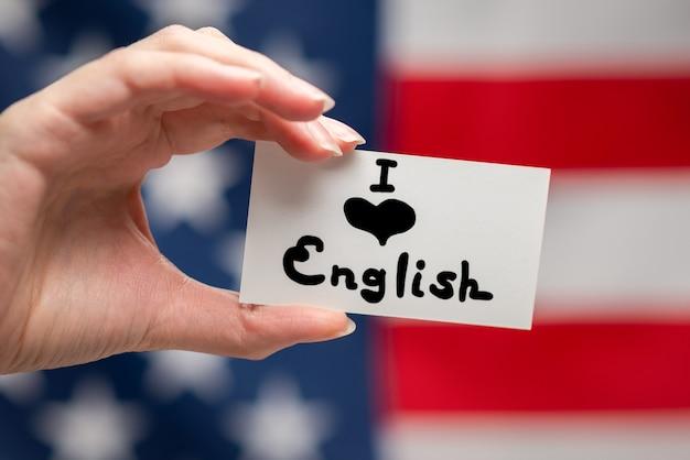Amo il testo inglese su carta. bandiera americana.