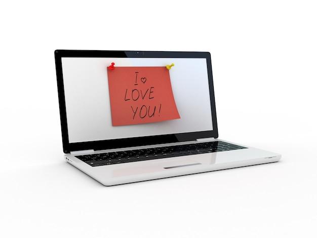 Ti amo testo sullo schermo del laptop