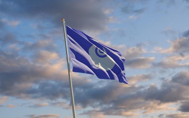 Bandiera della prefettura di ibaraki giappone sul cielo. grafica 3d