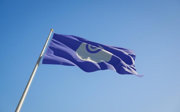 Bandiera di angolo basso della prefettura del giappone di ibaraki. grafica 3d
