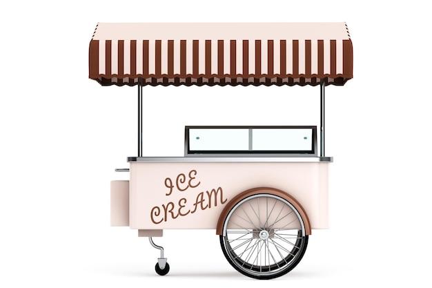 Carretto dei gelati su sfondo bianco