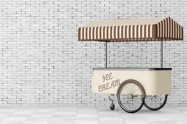 Carretto del carrello del gelato davanti al muro di mattoni rendering 3d
