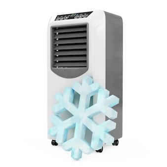 Fiocco di neve di cristallo di ghiaccio davanti al condizionatore d'aria portatile della stanza mobile su un fondo bianco. rendering 3d. Foto Premium