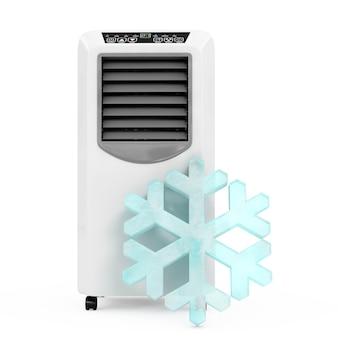 Fiocco di neve di cristallo di ghiaccio davanti al condizionatore d'aria portatile della stanza mobile su un fondo bianco. rendering 3d.