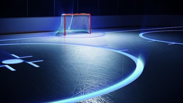 Stadio di hockey su ghiaccio con riflettori e obiettivo rosso