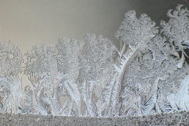 Fantasie di ghiaccio su una finestra invernale