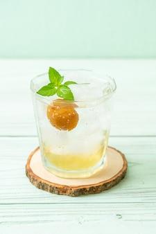 Succo di prugna ghiacciato con soda e menta piperita